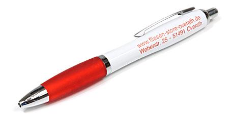 Kugelschreiber Guenstig Bedrucken Logo Werbeartikel Rot Weiss Logo 1 Farben Found Print