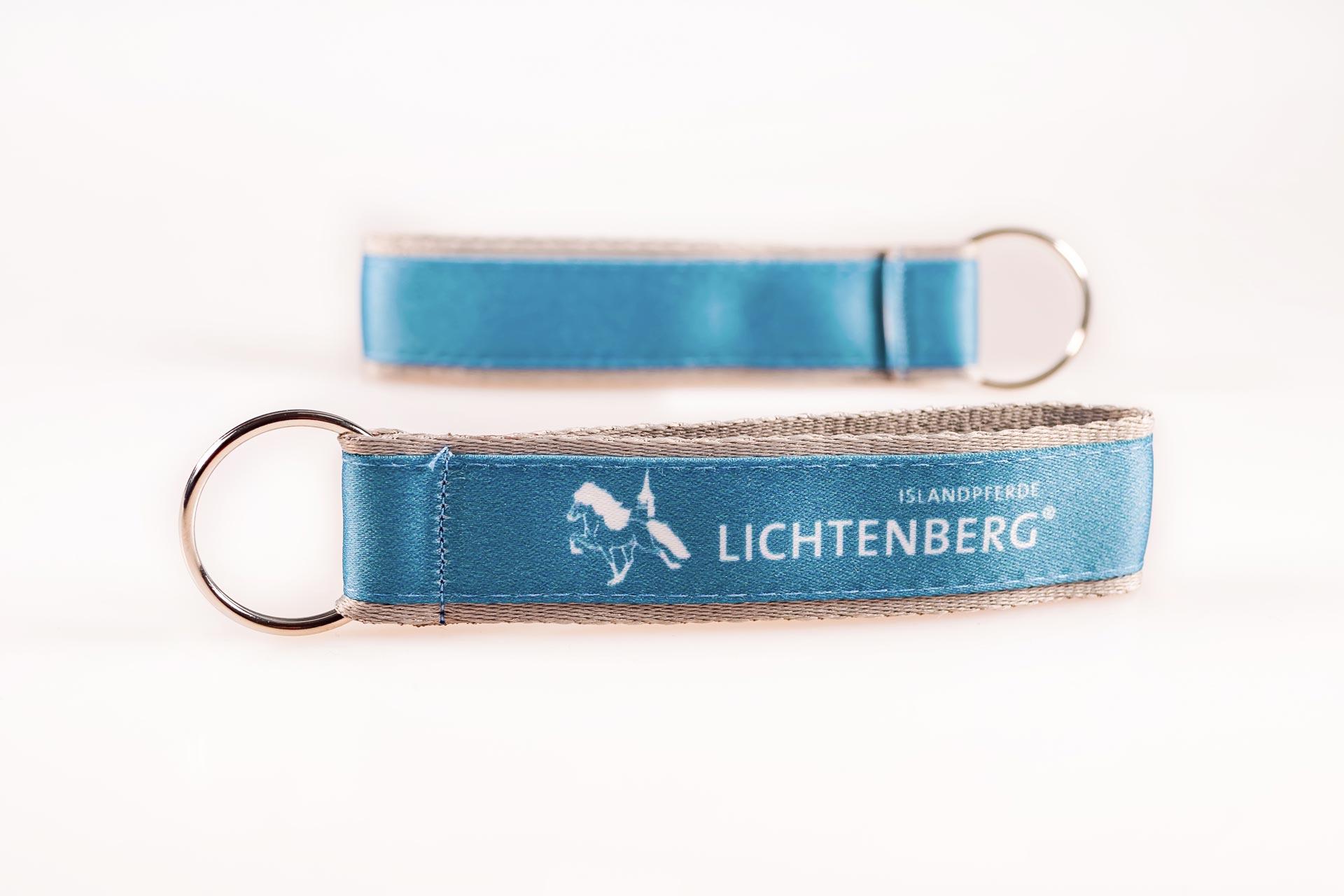 Schluesselanhaenger Bedrucken Logo Filz Alternative Shortstrap Guenstig Kaufen 25mm Doppelband Band Auf Band Satinband Blau Grau