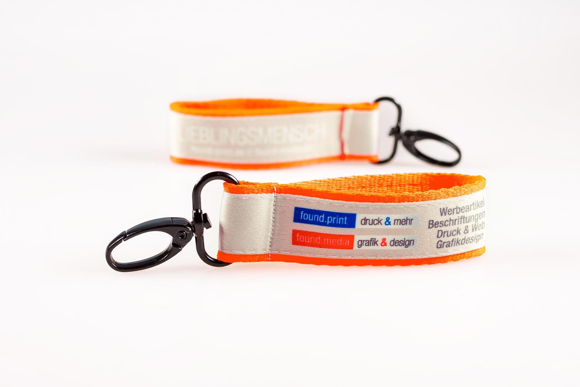 Schluesselanhaenger Bedrucken Logo Filz Alternative Shortstrap Guenstig Kaufen 25mm Doppelband Band Auf Band Satinband Neon.orange