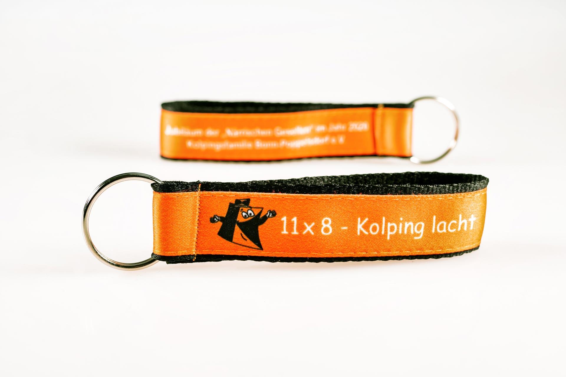 Schluesselanhaenger Bedrucken Logo Filz Alternative Shortstrap Guenstig Kaufen 25mm Doppelband Band Auf Band Satinband Orange Schwarz