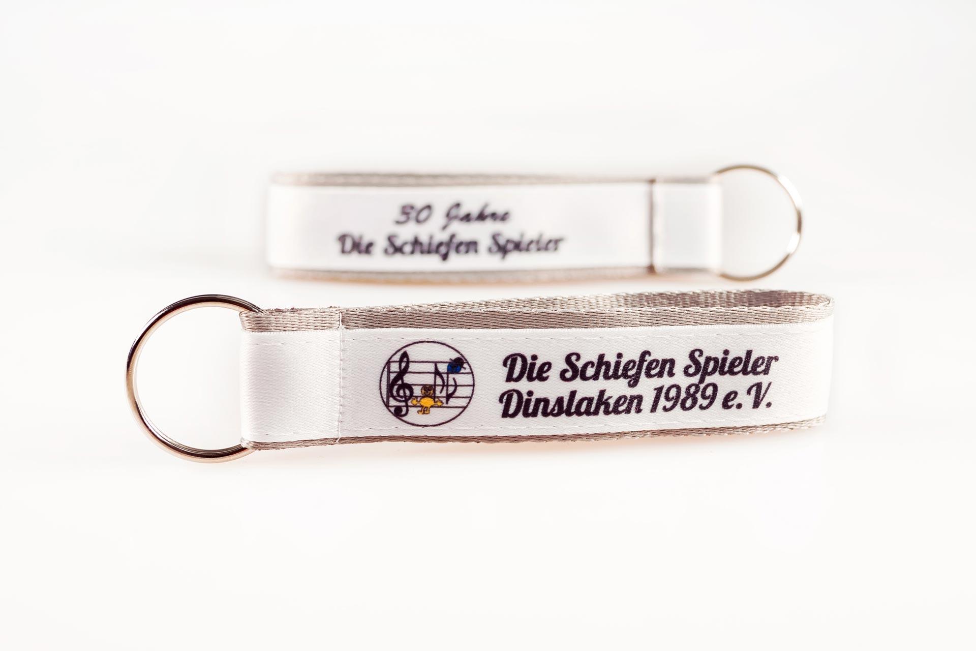 Schluesselanhaenger Bedrucken Logo Filz Alternative Shortstrap Guenstig Kaufen 25mm Doppelband Band Auf Band Satinband Weiss Grau