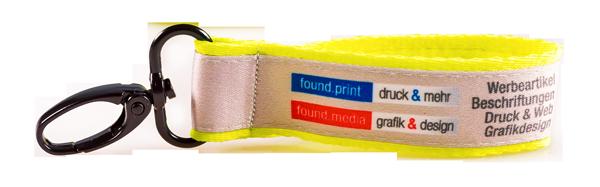 Schluesselbaender Bedrucken Logo Filz Alternative Shortstrap Guenstig Kaufen 25mm Doppelband Band Auf Band Satinband Neongelb